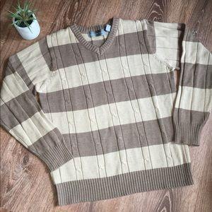 Oscar De La Renta Tan Striped Cable Knit Sweater M